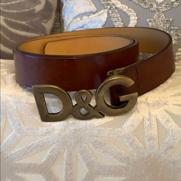 NEW $350 DOLCE /& GABBANA Belt Brown Suede Leather Brushed Buckle Mens 85cm //34in
